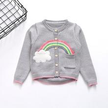 DFXD Baby Girls Knitwear Spring Autumn Long Sleeve Single-breasted Sweaters Fashion Rainbow Spliced Kids Cardigan Sweater 2-8Y