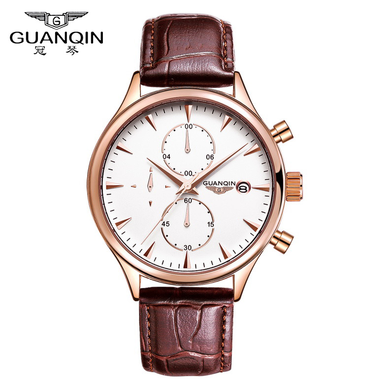 ФОТО Watches Men Luxury Top Brand GUANQIN New Fashion Men's Big Dial Designer Quartz Watch Male Wristwatch Relogio Masculino Relojes