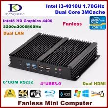 Без вентилятора промышленный компьютер 4 г 512ram + 256 г SSD процессор Intel i3 4010U мини-пк, Lan, 2 жк-hdmi 6 COM rs232, Wi-fi, Linux, Ос Windows