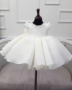 Платье с буффами на рукавах для маленьких девочек, платья для крещения с бусинами для девочек, вечерние платья на первый день рождения, свад...