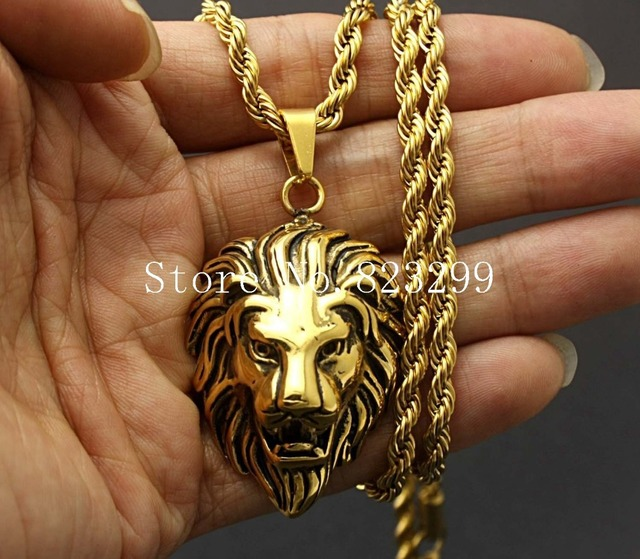 Amazing new mens 316l stainless steel lion head pendant gold rope amazing new mens 316l stainless steel lion head pendant gold rope chain necklace jewelry aloadofball Image collections