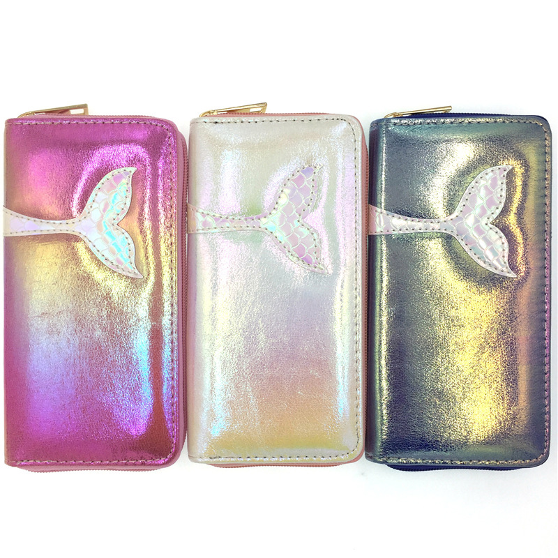KANDRA Fashion Women Mermaid Wallets Long PU Leather Star Wallet Female Purse Lady Purses Phone Credit Card Wallet Bag Wholesale