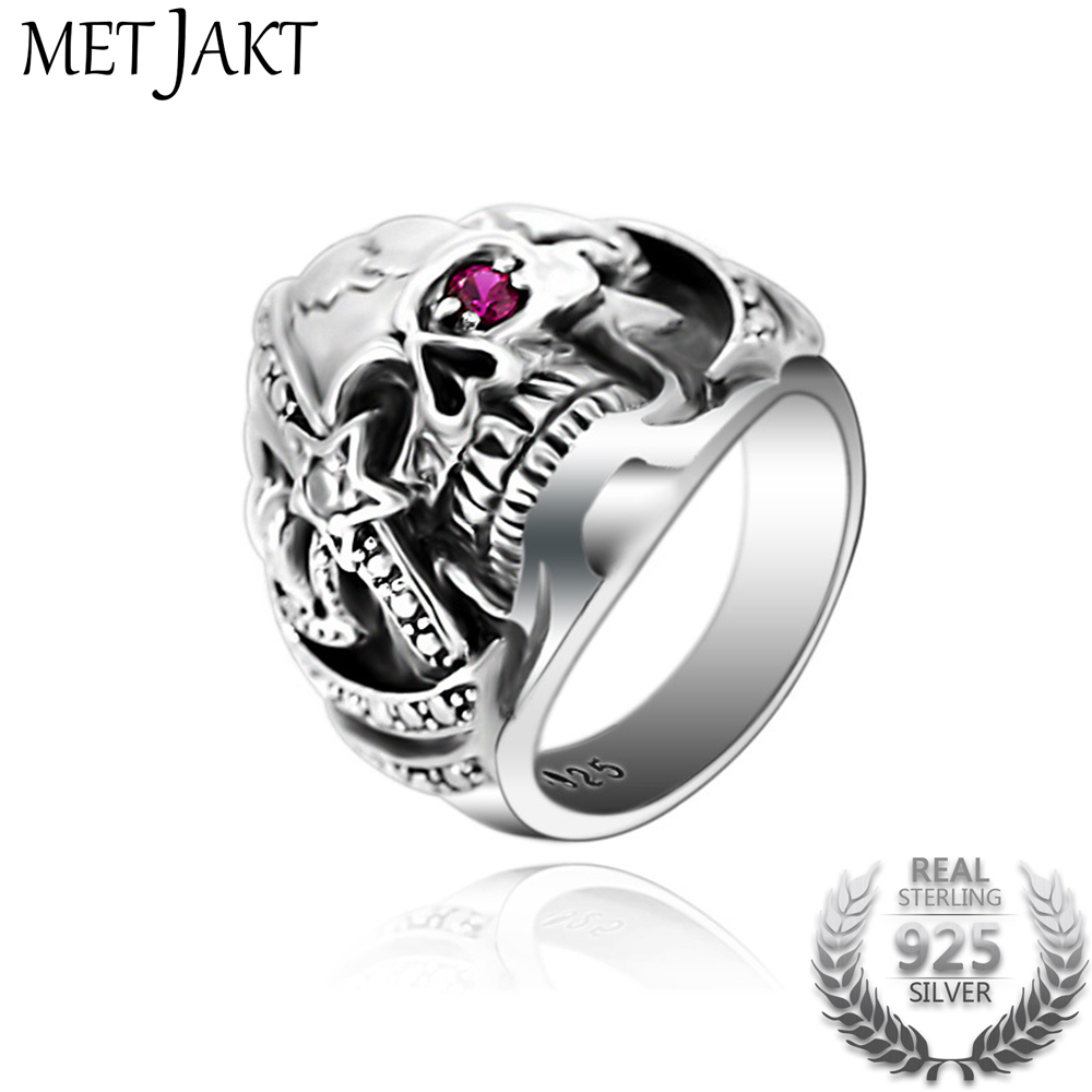 цена на MetJakt Punk Rock Men's Pirates of The Caribbean Skull Rings Solid 925 Sterling Silver Ring for Men Vintage Thai Silver Jewelry