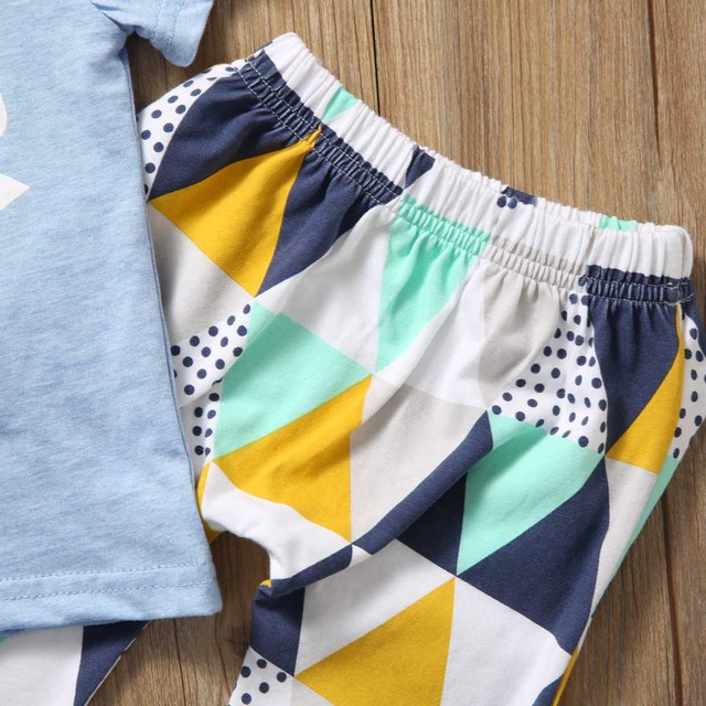 Summer 2017 Newborn Baby Boy Clothes Short Sleeve Cotton T-shirt Tops +Geometric Pant 2PCS Outfit Toddler Kids Clothing Set 2