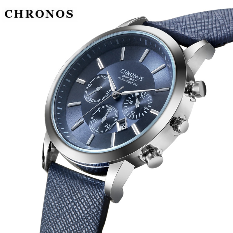 все цены на CHRONOS Mens Watches Top Brand Luxury Watch Men Watch Fashion Sport Men's Watch Leather Clock erkek kol saati relogio masculino онлайн