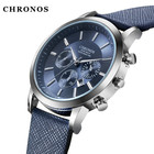 CHRONOS Men's Watch Top Brand Luxury Sport Watch Men Watch Leather Strap Calendar Watches Men Leather Band Clock erkek kol saati