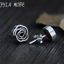 Fyla Mode Hot Sale Beautiful Rose Flower Design S925 Sterling Silver Stud Earring For Ladies 8.80mm 2.40g WTS010