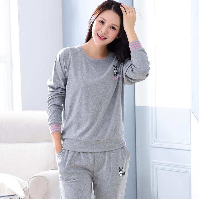 Longo Sleepwear Conjuntos de Pijama De Malha Cor Sólida das Mulheres Dos Desenhos Animados Teste Padrão Do Cão