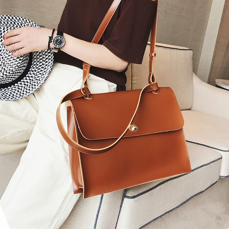 Image 5 - Retro Fashion Female Big Bag 2018 New Quality PU Leather Women's Designer Handbag Ladies Briefcase Tote Shoulder Messenger Bags-in Shoulder Bags from Luggage & Bags