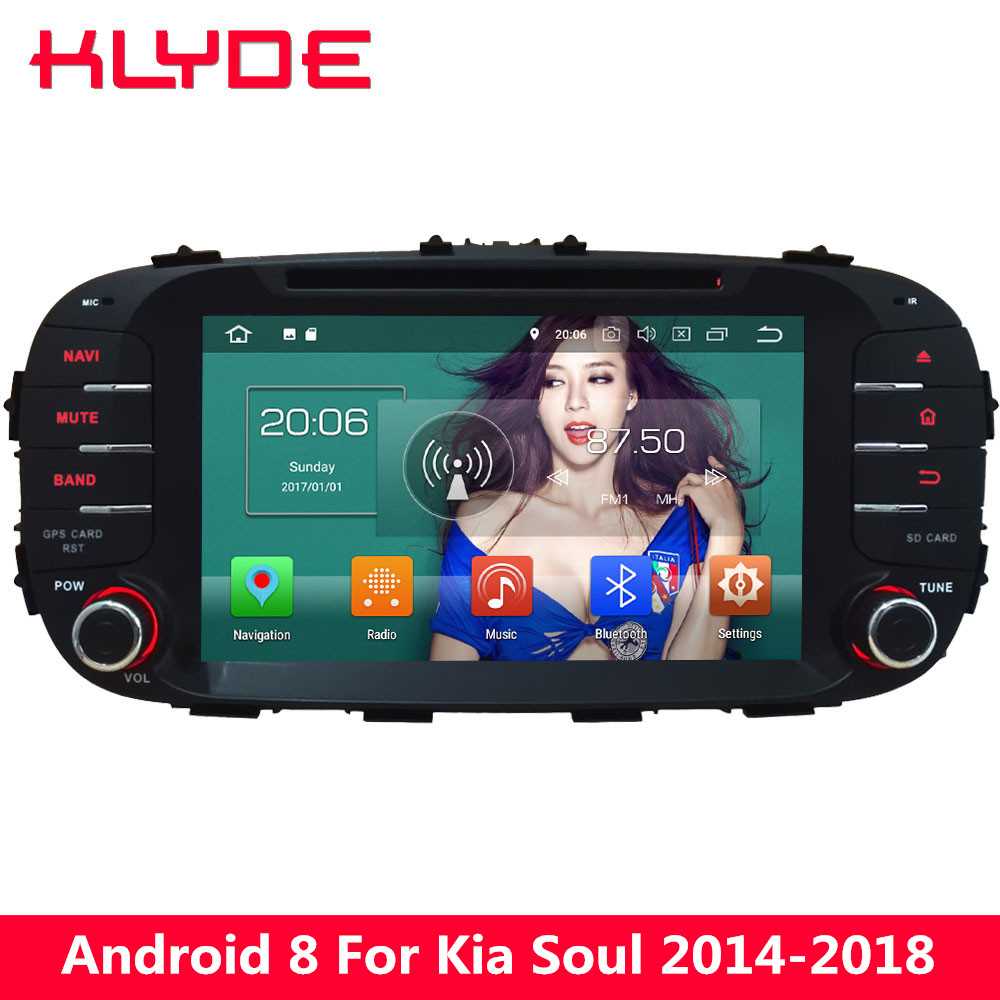 KLYDE 8'' Octa Core Android 8.0 4GB RAM 32GB ROM PX5 4G FM Car DVD Multimedia Player Radio For Kia Soul 2014 2015 2016 2017 2018 спортивный комплекс карусель 2д 04 01 орех