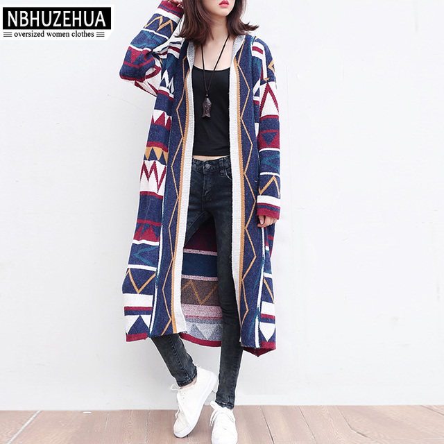 d262cdd9734 NBHUZEHUA T610 3XL 4XL 5XL Women Cardigan Sweater Coat Long Sleeve Geometric  Long Sweater Plus Size