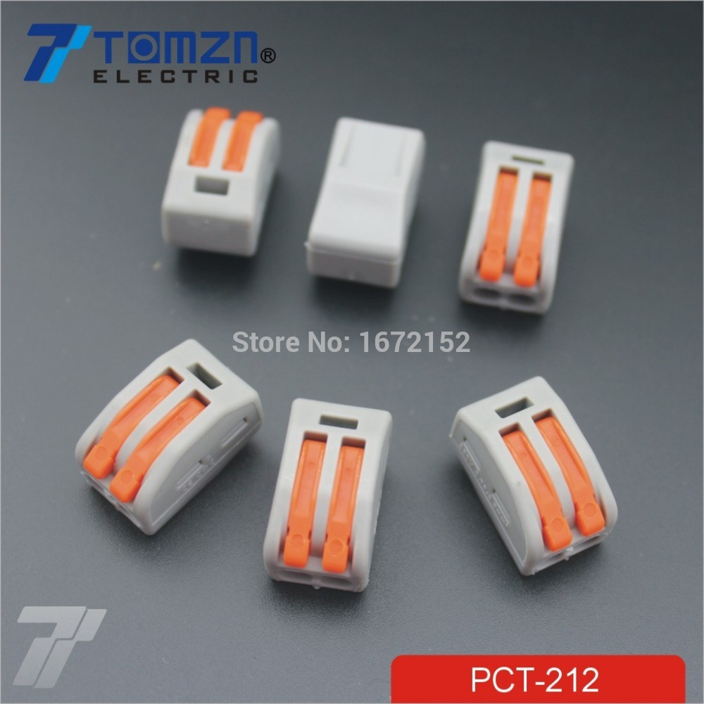 100Pcs 2 Pin Universal compact wire wiring connector conductor terminal block with lever 10 pieces lot 222 413 universal compact wire wiring connector 3 pin conductor terminal block with lever awg 28 12
