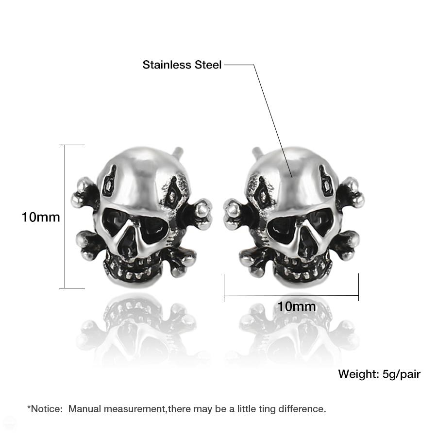 2er Set Stainless Steel Plastic Studs Crossbones Skull Pirate Pink Black