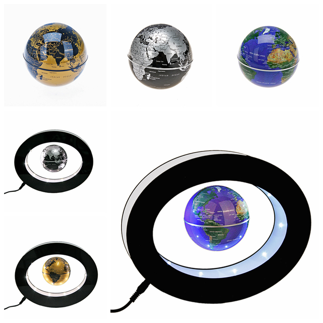 Oval shaped levitation floating globe rotating magnetic mysteriously oval shaped levitation floating globe rotating magnetic mysteriously suspended in air world map in silver or gumiabroncs Gallery