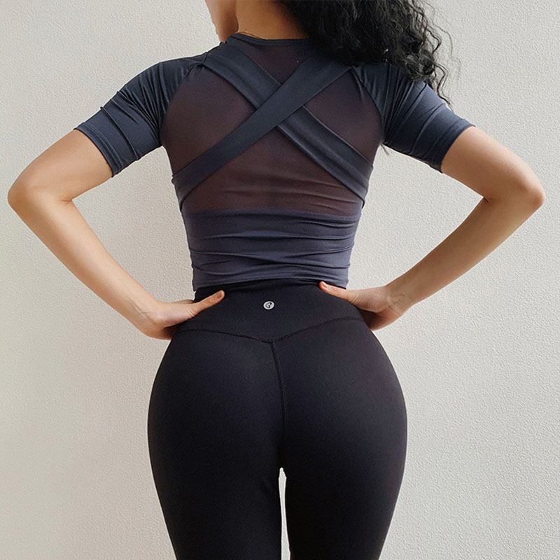 Yoga Crop Top Woman Fitness Sports T-shirts Workout Gym Tops For Women Gym Sports T-shirt For Fitness Yoga Top Clothes