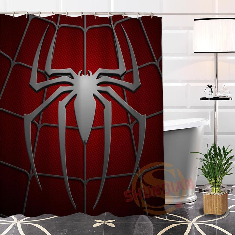 Eco-friendly Custom Unique Spiderman Fabric Modern Shower Curtain bathroom Waterproof for yourself H0220-68