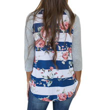 Autumn New Ladies Flower Floral Printed Blouses Three Quarter Sleeve O-neck Shirts Casual Women Oversize Blouse Femme GV915
