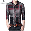 2017 New Homme Chemise Autumn Fashion Brand Clothes Slim Long Sleeve Men Plaid Cotton M-5XL Dress Shirt Social Plus Size 5XL