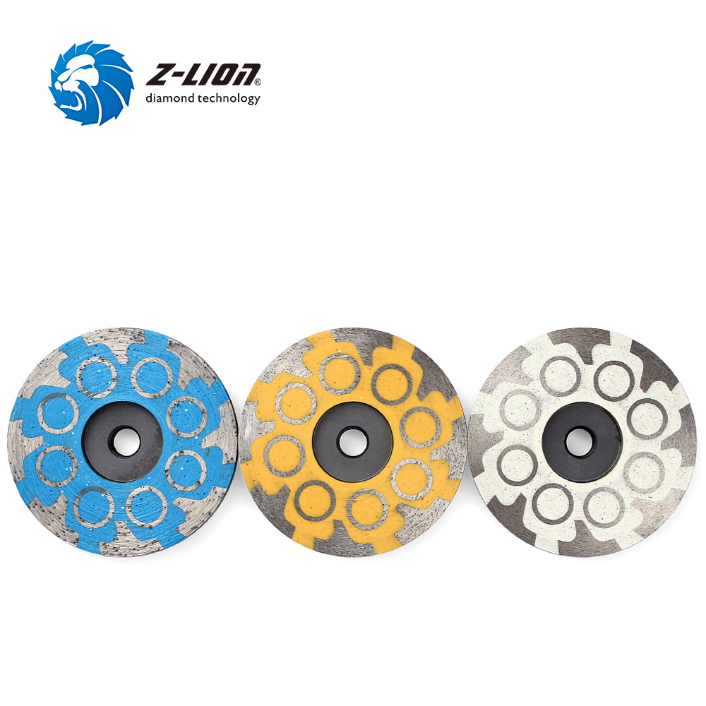 Z-LION 3pcs Diamond Grinding Disc Cup Wheel M14 Thread 4 Inch Resin Filled Metal Bond Sanding Disc Lower Noise with Great Finish 4 inch 100mm 5 8 11 m14 arbor thread resin filled diamond sanding grinding disc cup wheel for stone concrete marble granite
