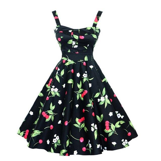 Женщины Летнее Платье 2016 плюс размер одежды Слинг Цветочные одеяние Ретро Качели Случайные 50 s Vintage Рокабилли Платья Vestidos