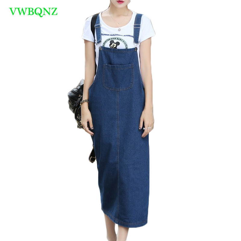 Spring Summer Denim Dress Female student Loose Thin Strap Dresses Fashion Women Sleeveless Loose waist Cowboy Sling Dresses 583