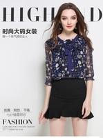 Kerrilado新しいファッション女性シフォンシャツプラスサイズ弓ネクタイ青花ルックスリムhタイプ薄い三四半期袖ad15