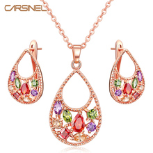 FYM Luxury Gold Color Jewelry Sets necklace/earring For Women Wedding with AAA Cubic Zircon Girlfriend Gift Wholesale JS0131 fym luxury gold color jewelry sets necklace earring for women wedding with aaa cubic zircon girlfriend gift wholesale js0131