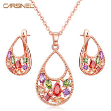 CARSINEL Luxury Gold Color Jewelry Sets necklace/earring For Women Wedding with AAA Cubic Zircon Girlfriend Gift Wholesale(China)