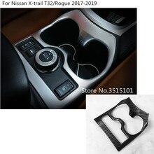 Full-placa do carro guarnição ABS chrome Centro Console Copo meio moldura da caixa de engrenagem 1 pcs Para Nissan X- trail xtrail T32/Rogue 2017 2018 2019