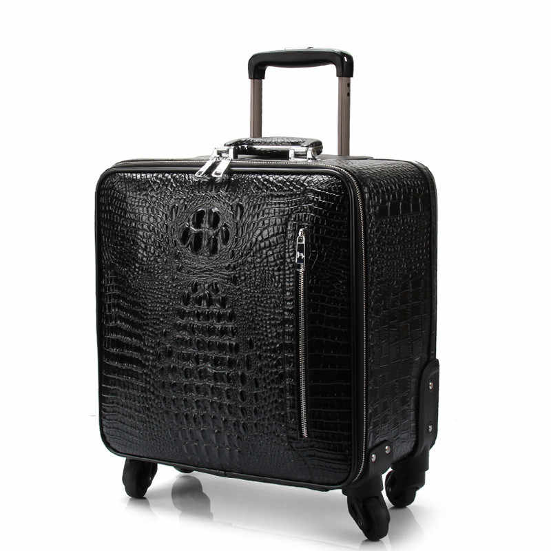f3d359654 ... High quality luggage,Leather trolley case,Universal wheel suitcase,Crocodile  pattern leather bag ...