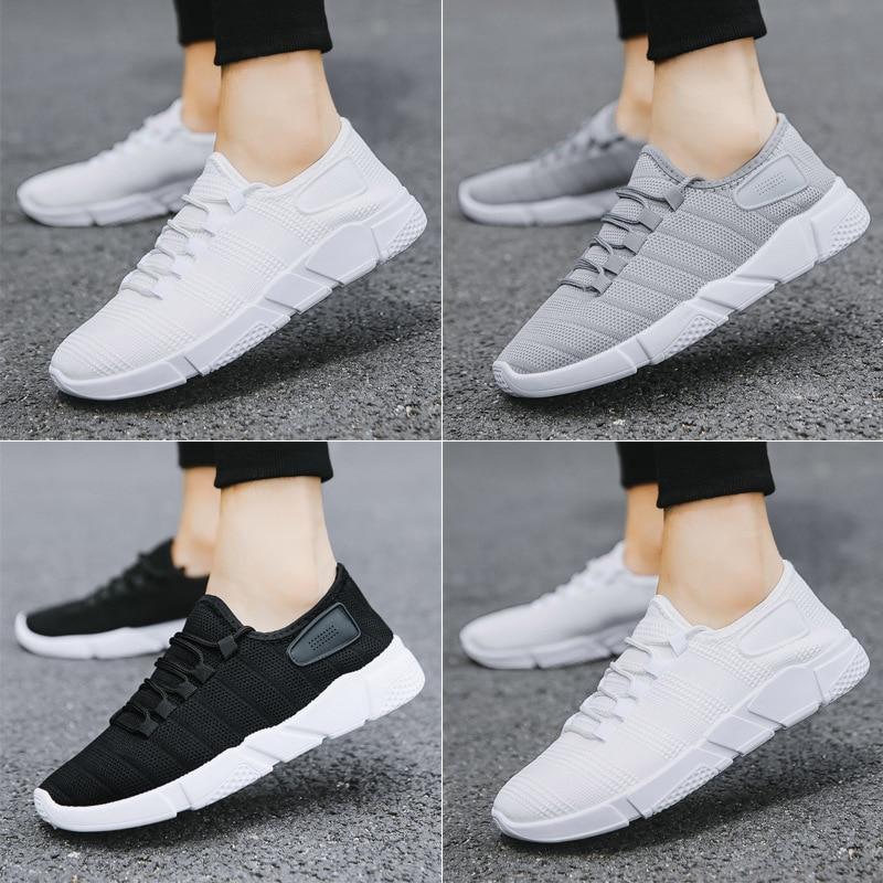 gray Masculinos Nuevo Otoño Zapatillas Transpirable 2018 Negro white Casuales Hombre Entrenadores Adultos Hombres Hasta Caminando Zapatos Malla Encaje zxnwTtBqUE