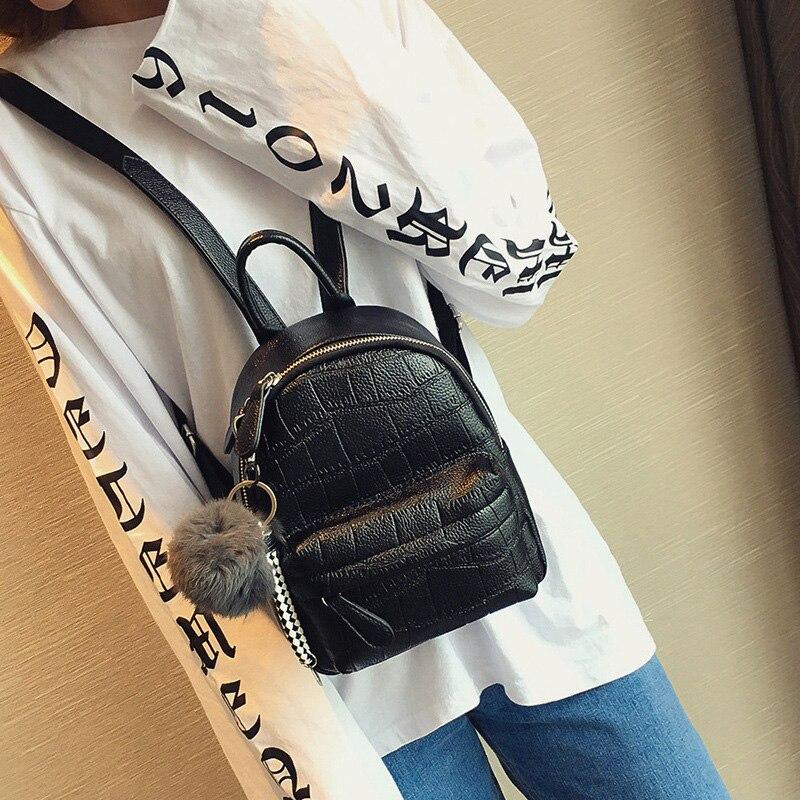 Image 3 - Mini Backpacks Women PU Leather Cute Small Backpack Female White Back Pack Black Backpacks for Teen Girls Fashion Bagpack Woman-in Backpacks from Luggage & Bags