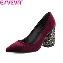 ESVEVA 2018 Women Pumps Bling Heels Gold Velvet Wedding Shoes Square High Heels Pointed Toe Western Style Women Shoes Size 34-43