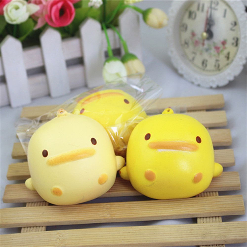 Cute Yellow Duck Squishy Toys Bread Phone Straps Slow Rising Bun Charms Gifts Toys Kawaii Stationery Wipes Anti-stress Toys A1