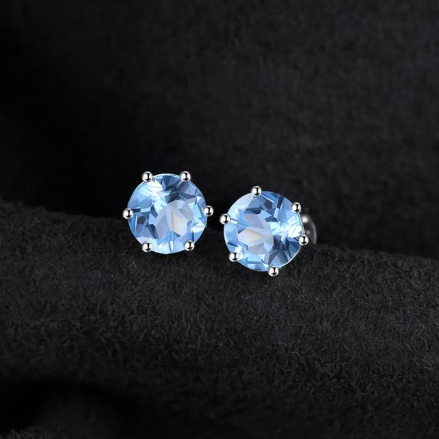 Natural Blue Topaz Earrings Stud Genuine 925 Sterling Silver Jewelry