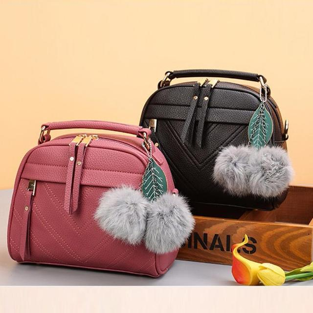 Women Square PU Leather Handbags Chain Messenger Bags With Ball Female Shoulder Crossbody Bag Sling Bolsa Ladies Party Handbags 3