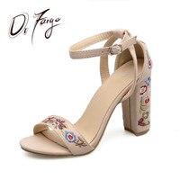 DRFARGO Sexy Block High Heels Embroidered Gladiator Women Sandals Summer Shoes Female Floral Heel Sandal Ankle