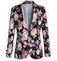 Novo 2016 Plus Size Floral Impresso Terno Jaqueta Masculina Slim Fit Mens Blazer Do Vintage Um Botão Vestido de Festa Roupas A1105