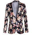 Nuevo 2016 Más El Tamaño Floral Impreso Chaqueta de Traje Masculino Mens Un Botón Slim Fit Chaqueta de La Vendimia Vestido de Fiesta Ropa A1105