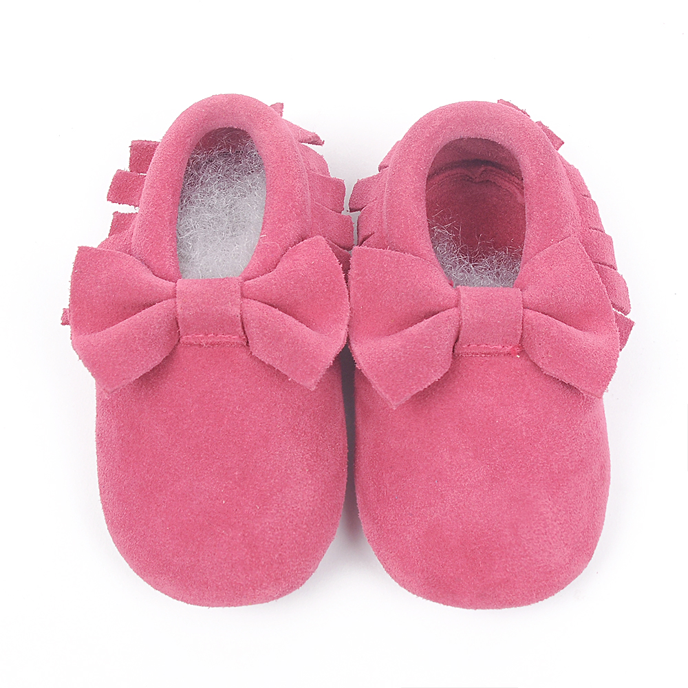 New 100% Genuine Leather Baby Moccasins suede Baby Shoes tassel and bow Chaussure Bebe newborn shoes First Walkers