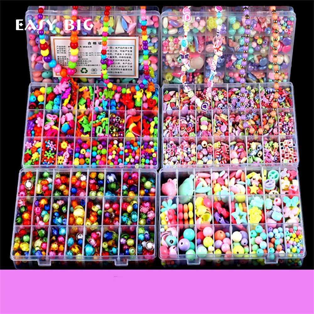 EASY BIG Colorful DIY Bracelet Toys For Girl Jewelry Making Kids Hama Beads Set Educational 3D Puzzle Beads Toys Puzzle TH0034(China)