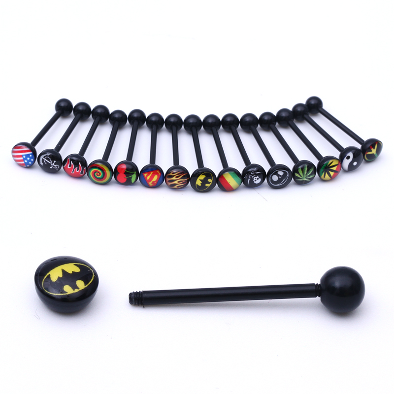 Black Soft Doprava zdarma Logo Tongue Ring, labret ring Noctilucent Acrylic Tongue Bipple Bar Ring Barbell Body Piercing