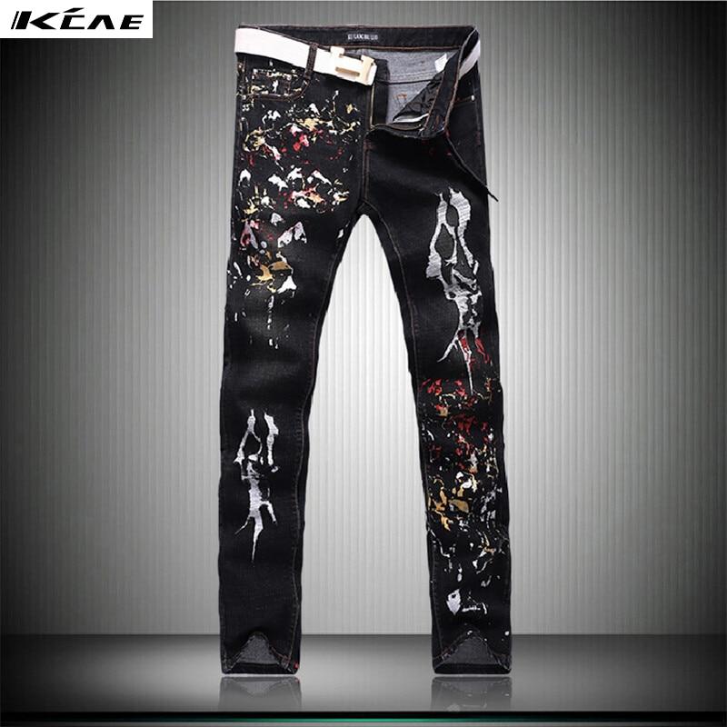 2016 new fashion straight leg jeans long men male printed Holes Black denim pants cool cotton designer good quality trousers