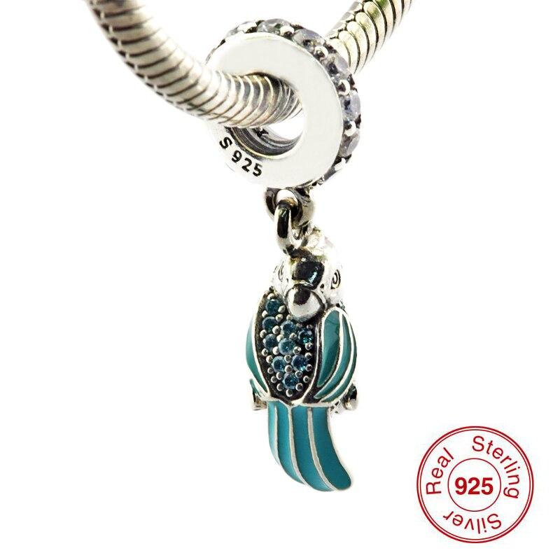 Přívěsky se hodí na náramky Pandora Tropické papoušky Závěsné korálky 100% Sterling-Silver-šperky Doprava zdarma