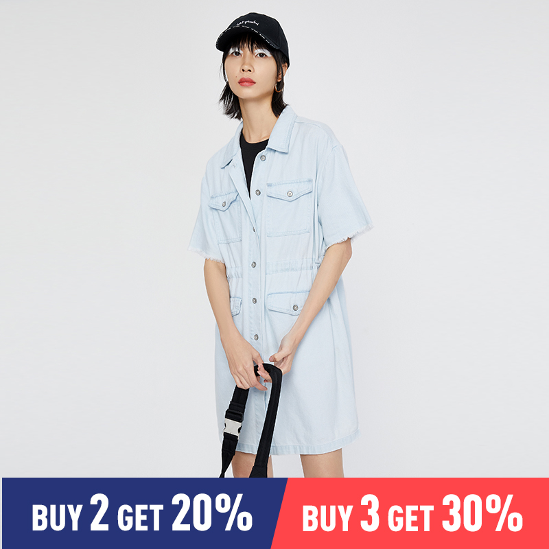 Toyouth Preppy Blue Button Front Denim Overall Tunic Dress Turn Down Collar Short Sleeve Summer Modern