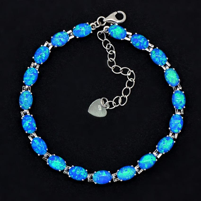 Wholesale & Retail Fashion Blue Fire Opal Bracelet 925 Sterling Sliver Jewelry For Women BNT17122901
