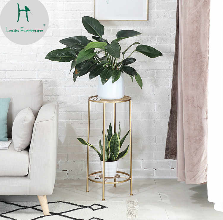 Louis Fashion Iron Gold Mini Landing Flower Pot Rack Living Room Balcony Indoor Meaty Green Lace Simple