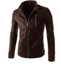 New Motorcycle Jackets Men PU Leather Jacket Vintage Retro Stand Collar Biker Punk Classical Slim Windproof Moto Jacket