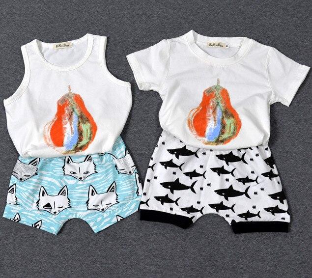 Girls T-shirt Boys Summer Clothes 2016 Baby Girls Tops pear Print Boys T shirts Children Clothing Tshirt Kids