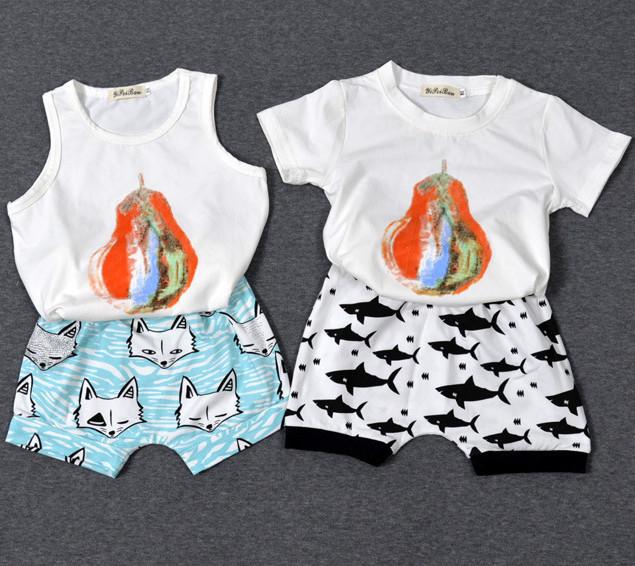 T-shirt das meninas Dos Meninos Roupas de Verão 2016 Do Bebê Partes Superiores Das Meninas pêra Impressão Meninos camisetas Roupa Das Crianças Caçoa o Tshirt